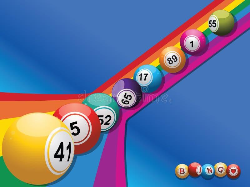 Bingobälle, die unten einen gebogenen Regenbogen rollen stock abbildung