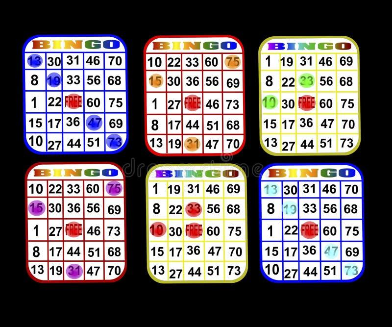 bingoen cards sex royaltyfri illustrationer