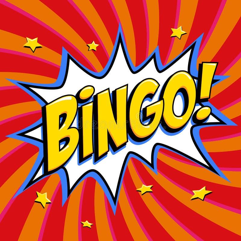 Bingolotteriaffisch Modig bakgrund för lotteri Form för smäll för komikerpop-konst stil på en röd vriden bakgrund stock illustrationer