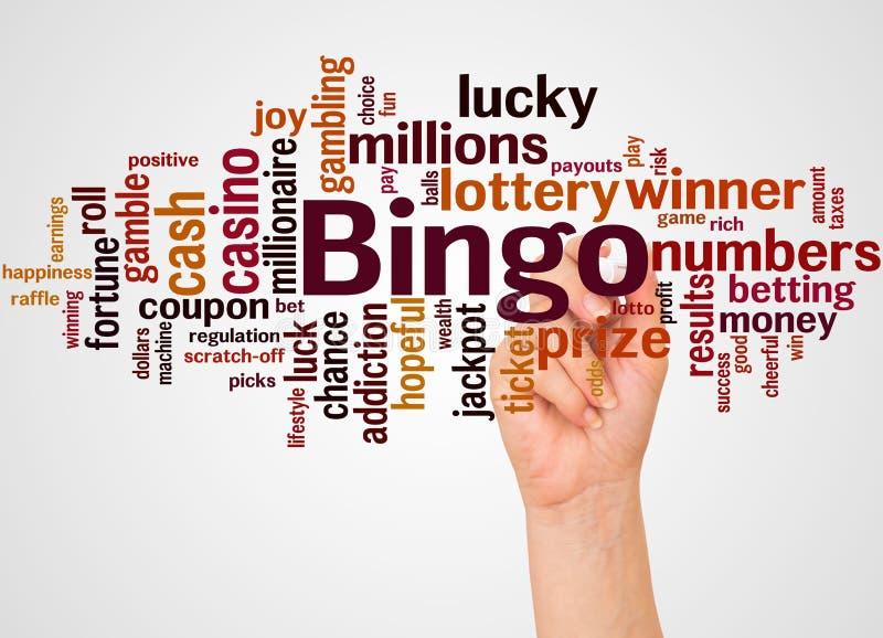 Bingowortwolke und -hand mit Markierungskonzept lizenzfreie abbildung