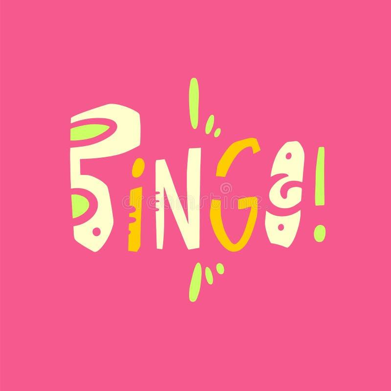 Bingozeichenlogohandgezogene Vektorbeschriftung Moderne Typografie Lokalisiert auf rosa Hintergrund vektor abbildung