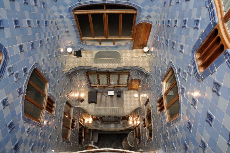 Binnen binnenplaats in Barcelona Spanje royalty-vrije stock afbeeldingen