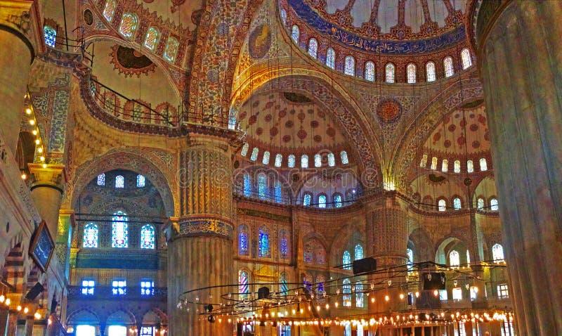 Binnen de Blauwe Moskee royalty-vrije stock foto's