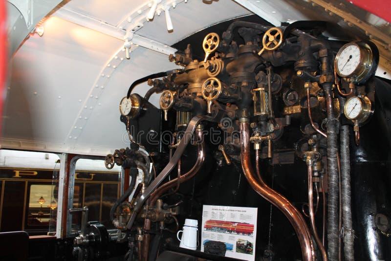 Binnen de cabine van de `-Hertogin van Hamilton ` bij de Spoorweguseum van York royalty-vrije stock afbeeldingen
