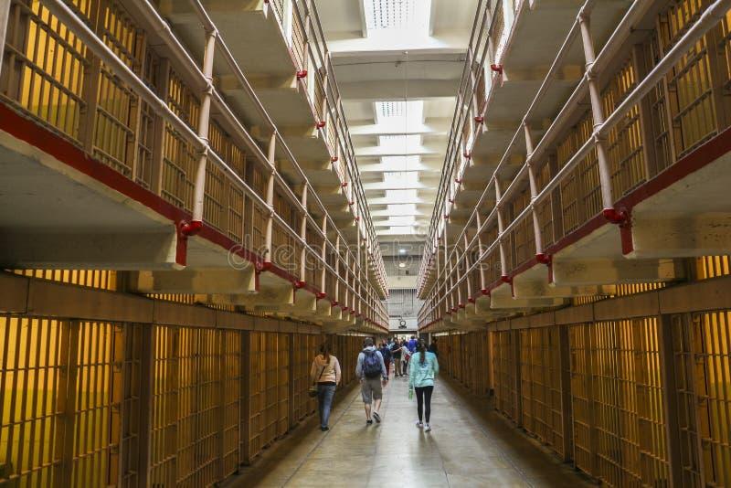 Binnen de gevangenis van Alcatraz, San Francisco royalty-vrije stock afbeelding
