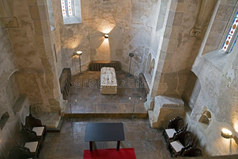 Binnen de kapel van Corvin-Kasteel in Hunedoara, Roemenië royalty-vrije stock afbeeldingen