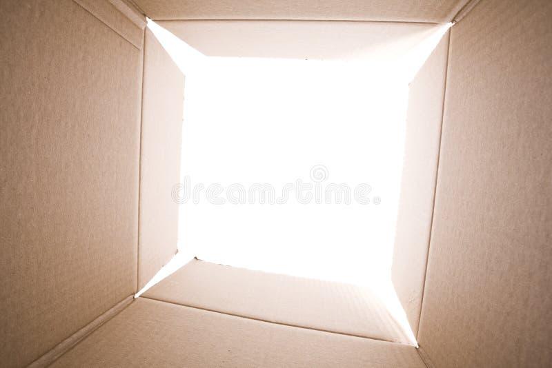 Binnen de kartondoos stock foto's