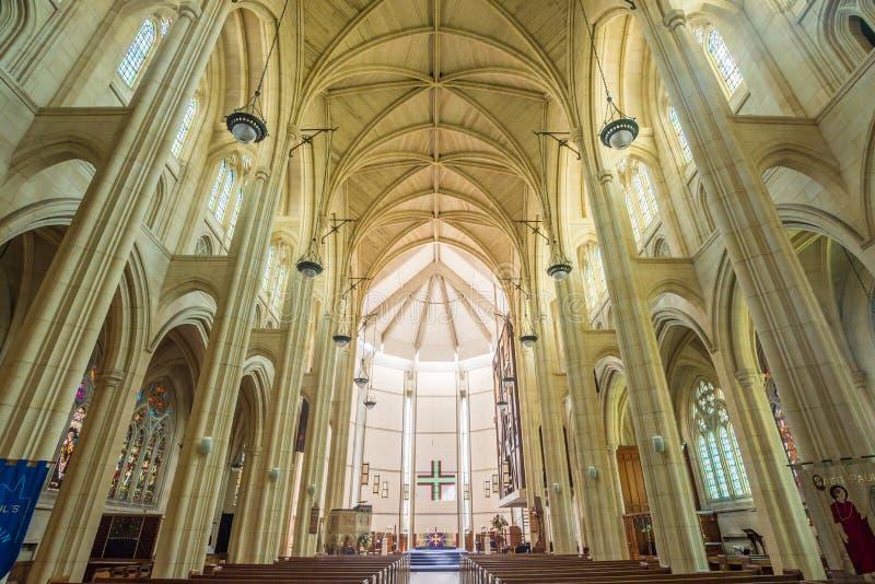 Binnen de Kathedraalkerk van St.Paul, Dunedin, Nieuw Zeeland stock foto