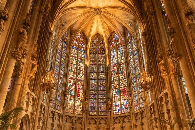 Binnen de Kerk Frankrijk van Carcassonne stock foto