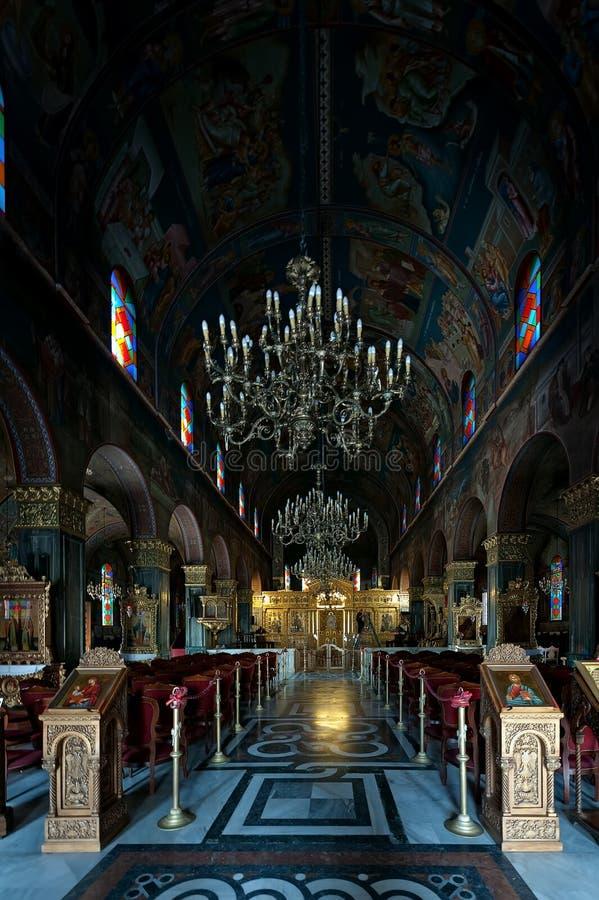 Binnen de Kerk van Sinterklaas van Mol op Solomos-Vierkant op de stad van Zakynthos van Zante-eiland royalty-vrije stock afbeeldingen