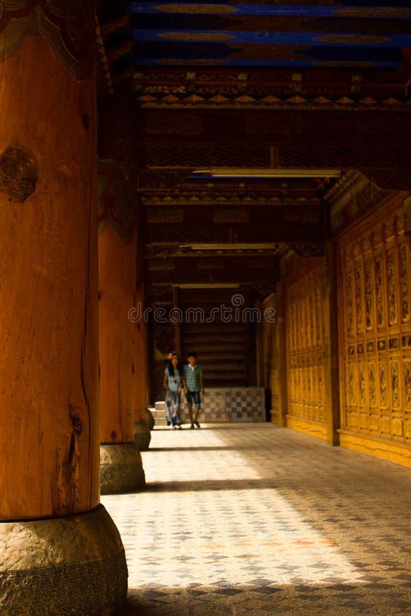 Binnen de tempel, reusachtige kolommen, beklede wegen, zonlicht, schaduwen, gebouwen royalty-vrije stock fotografie