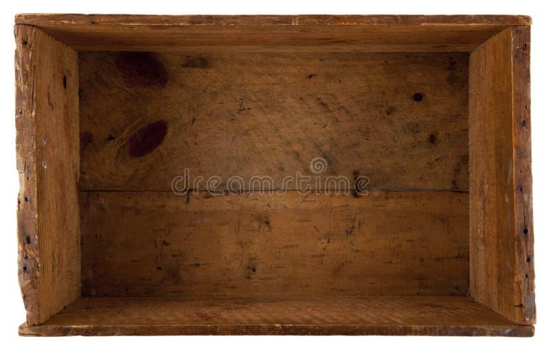 Binnen de werkelijk oude houten doos stock foto's