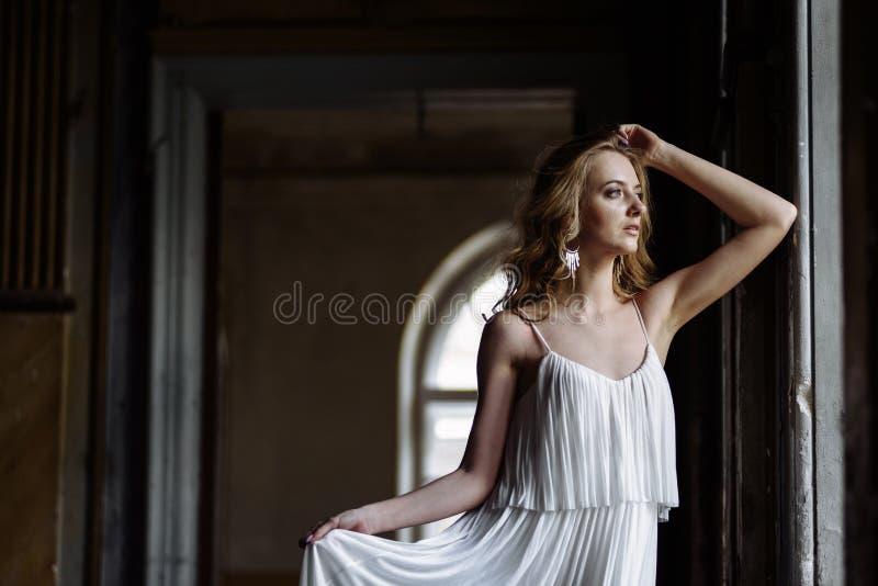 Binnen de zomerportret van jong vrij leuk meisje Het mooie vrouw stellen naast fairytalevenster binnen houten kabinet, littekens  royalty-vrije stock afbeeldingen