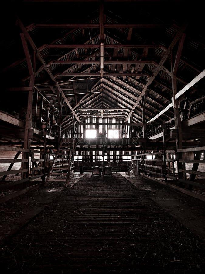 Binnen een oude verlaten schuur stock fotografie