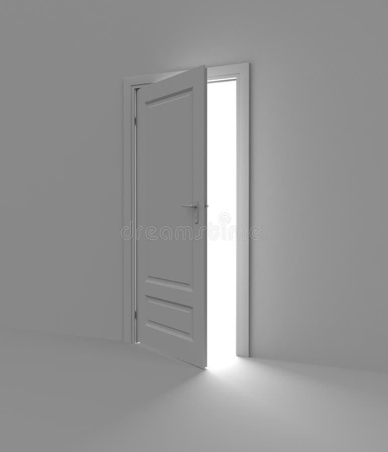 Binnen een ruimte met geopende deur royalty-vrije illustratie