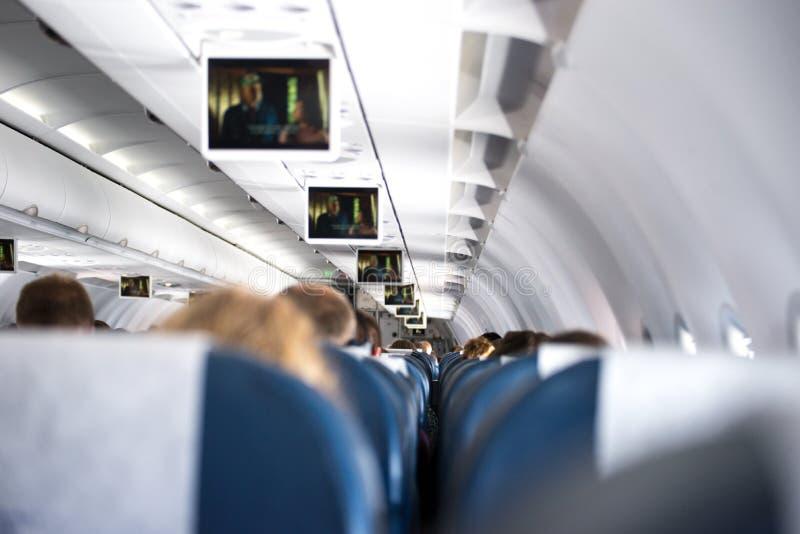 Binnen een vliegtuig stock afbeelding