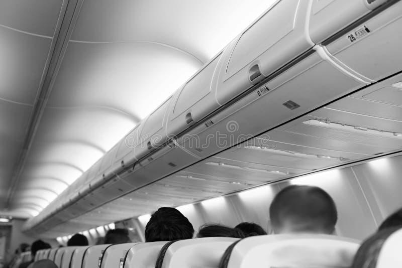 Binnen een vliegtuig stock fotografie