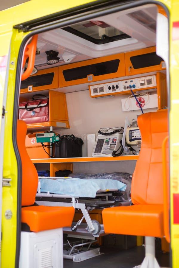 Binnen een ziekenwagen met royalty-vrije stock foto