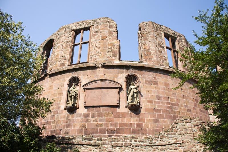 Binnen en decor van het Kasteel of Heidelberger Schloss van Heidelberg in Duitsland stock afbeelding