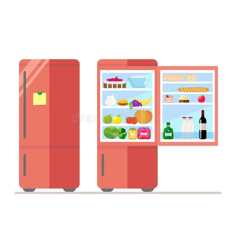 Binnen en openluchtijskast met voedsel Sticker voor nota's over de deur Zuivelfabriek en groenten, cake en wijn, eieren vector illustratie