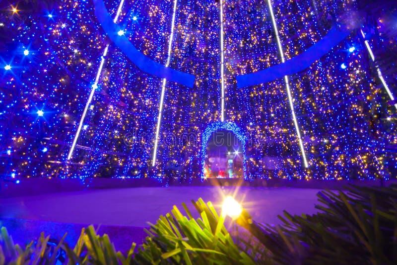 Binnen grote Kerstmisboom stock fotografie