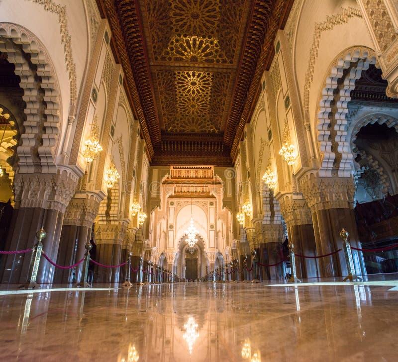 Binnen Hassan II Moskee royalty-vrije stock afbeelding