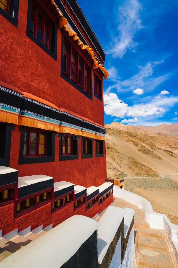 Binnen het Boeddhistische Klooster van Thikse, Ladakh, Noordelijk India stock afbeelding