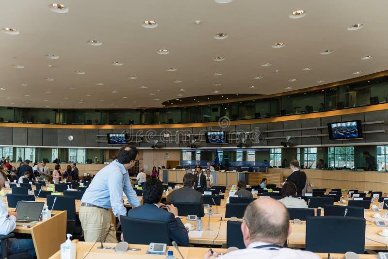Binnen het Europees Parlement stock afbeelding