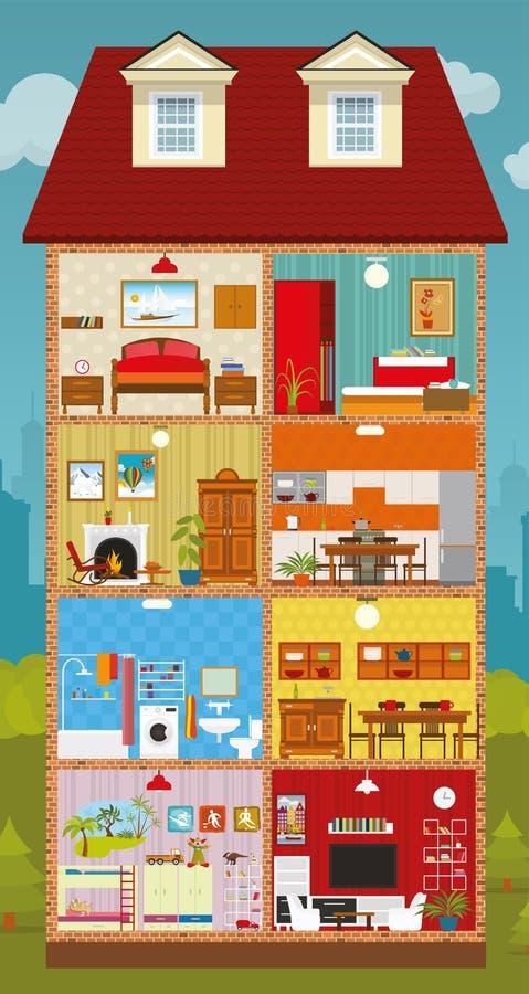 Binnen het huis vector illustratie