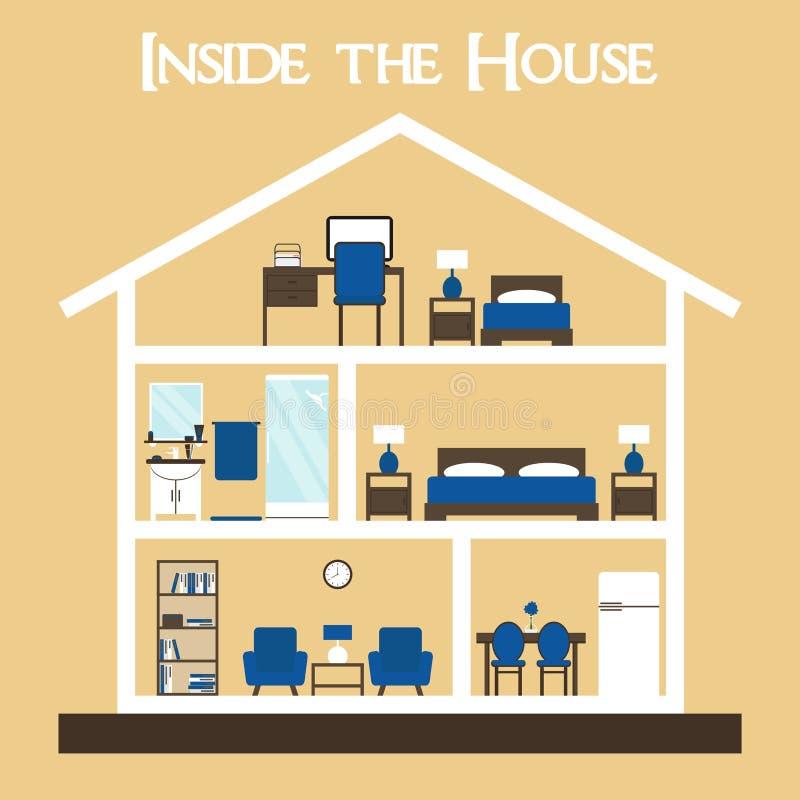 Binnen het huis Vlak het huissilhouet van de stijl vectorillustratie met meubilair stock illustratie