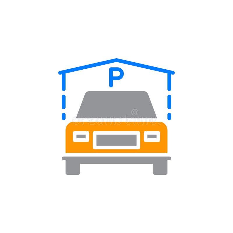 Binnen het pictogram vector, gevuld vlak teken van het Gastparkeren, stevig kleurrijk die pictogram op wit wordt geïsoleerd stock illustratie