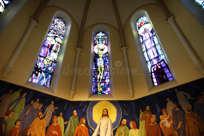 Binnen kerk royalty-vrije stock afbeeldingen