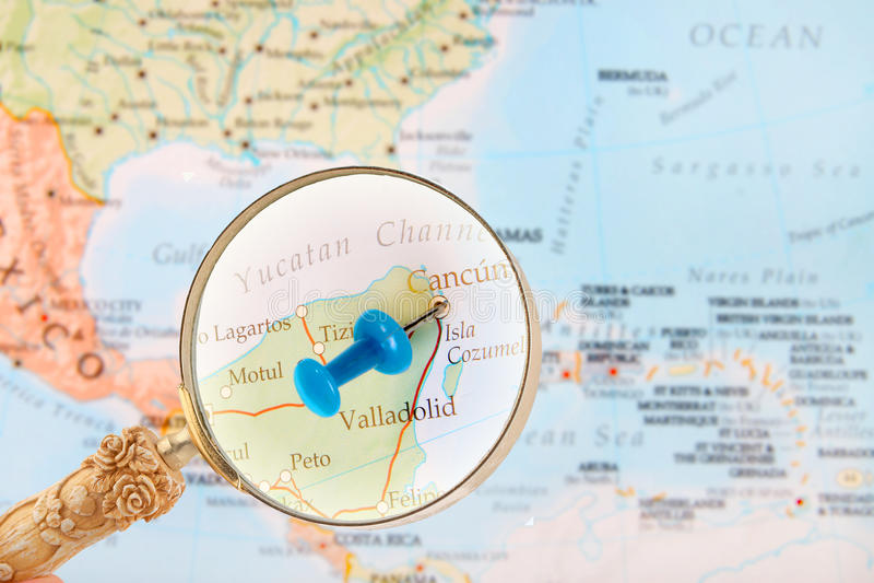 Binnen kijkend op Cancun, Mexico stock afbeeldingen