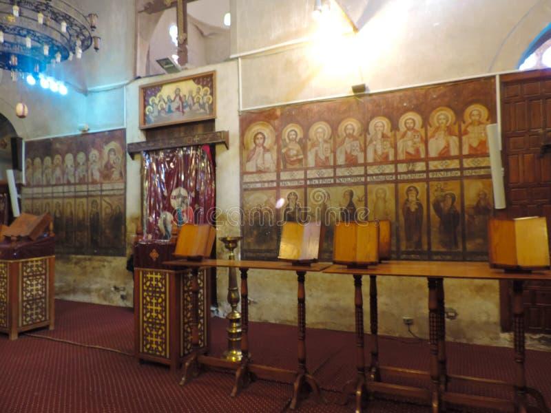 Binnen Koptisch Orthodox Klooster royalty-vrije stock fotografie