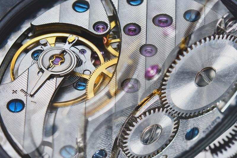 Binnen mechanisch horloge stock foto