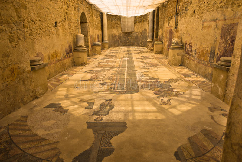 Binnen roman villa bij Piazza Armerina, Sicilië royalty-vrije stock afbeeldingen