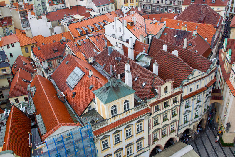 Binnen stad van Praag stock foto's