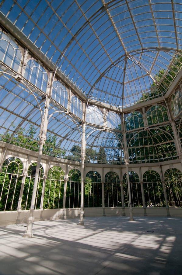 Binnen van Crystal Palace, Retiro-Park, Madrid, Spanje royalty-vrije stock afbeeldingen