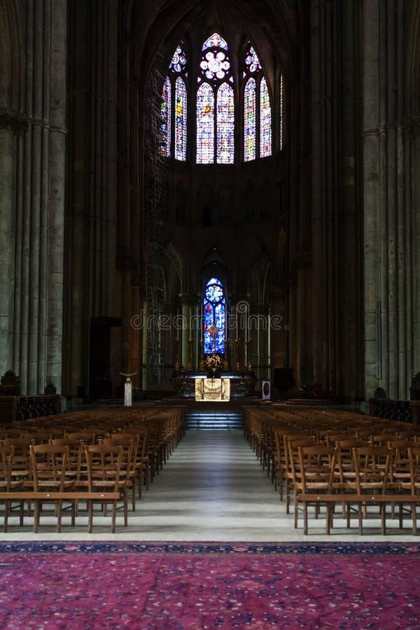 Binnen van de Kathedraal Notre-Dame DE Reims van Reims stock foto