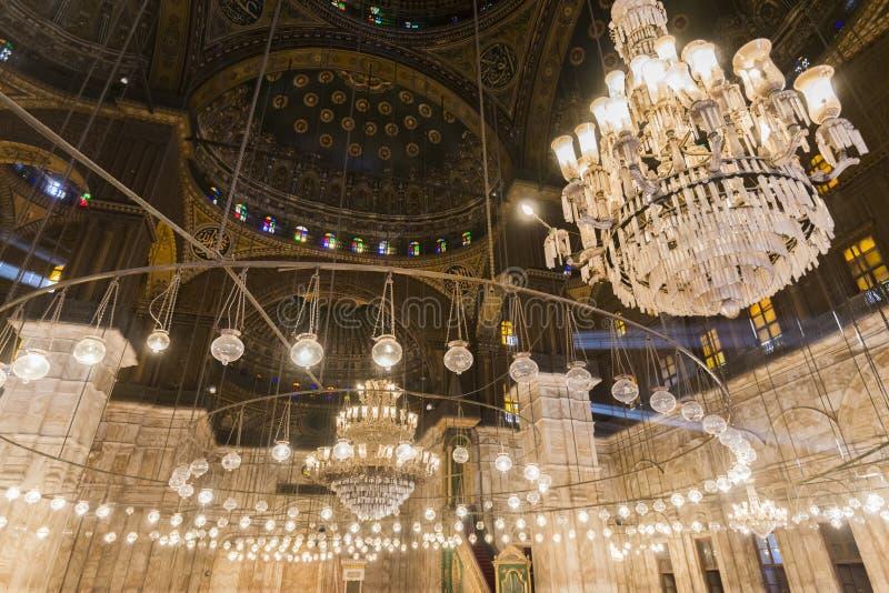 Binnen van de moskee van Muhammad Ali, Saladin Citadel van Kaïro royalty-vrije stock afbeelding