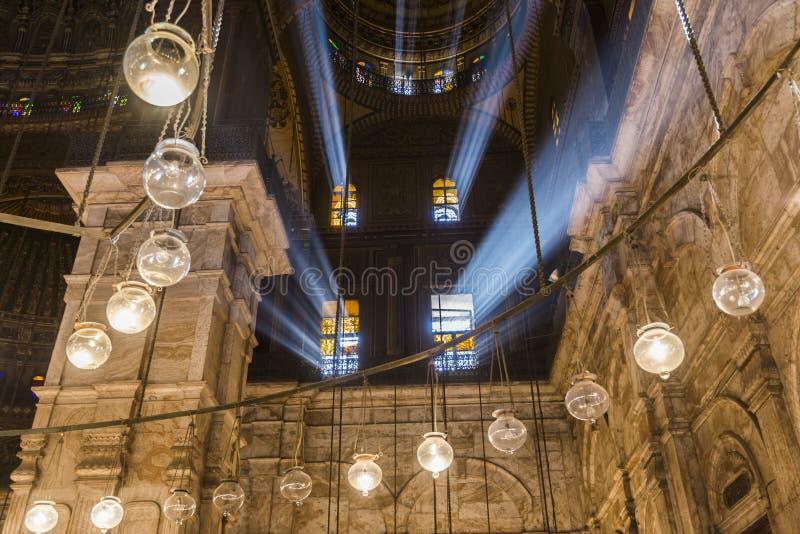 Binnen van de moskee van Muhammad Ali, Saladin Citadel van Kaïro royalty-vrije stock afbeeldingen