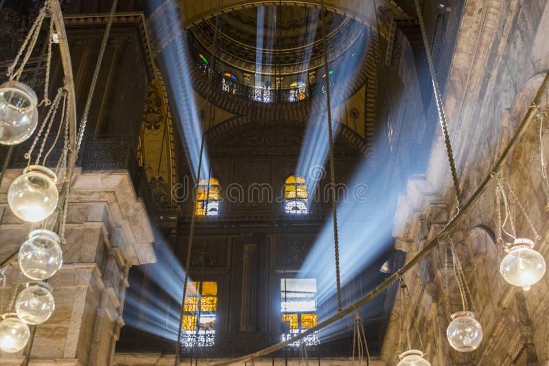 Binnen van de moskee van Muhammad Ali, Saladin Citadel van Kaïro royalty-vrije stock foto