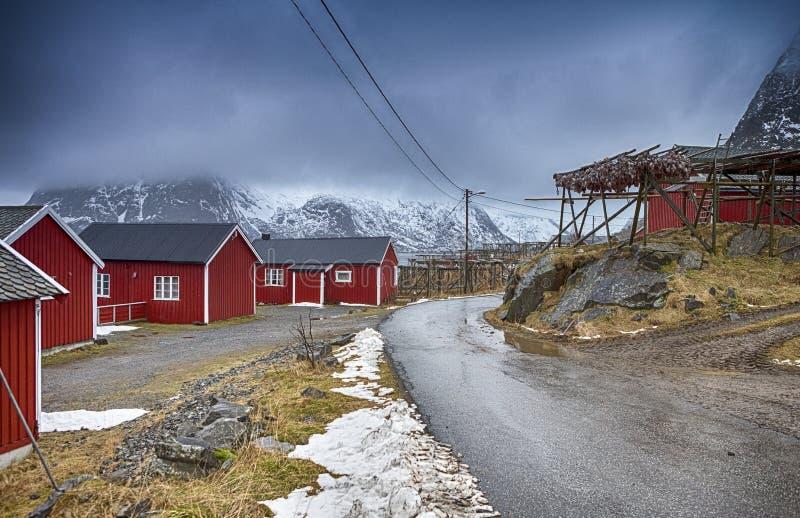 Binnen van de Straten van Klassieke Traditionele Noorse Visserijhut Hamnoy royalty-vrije stock afbeeldingen