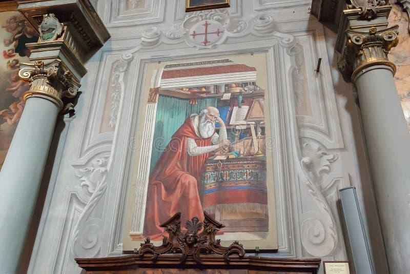 Binnen van Ognissanti of Kerk van Alle Heiligen in Florence, Ghirla royalty-vrije stock foto