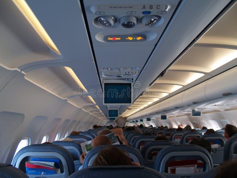 Binnen vliegtuigen royalty-vrije stock afbeeldingen