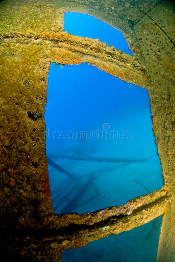 Binnen wrak Hilma Bonaire royalty-vrije stock afbeeldingen