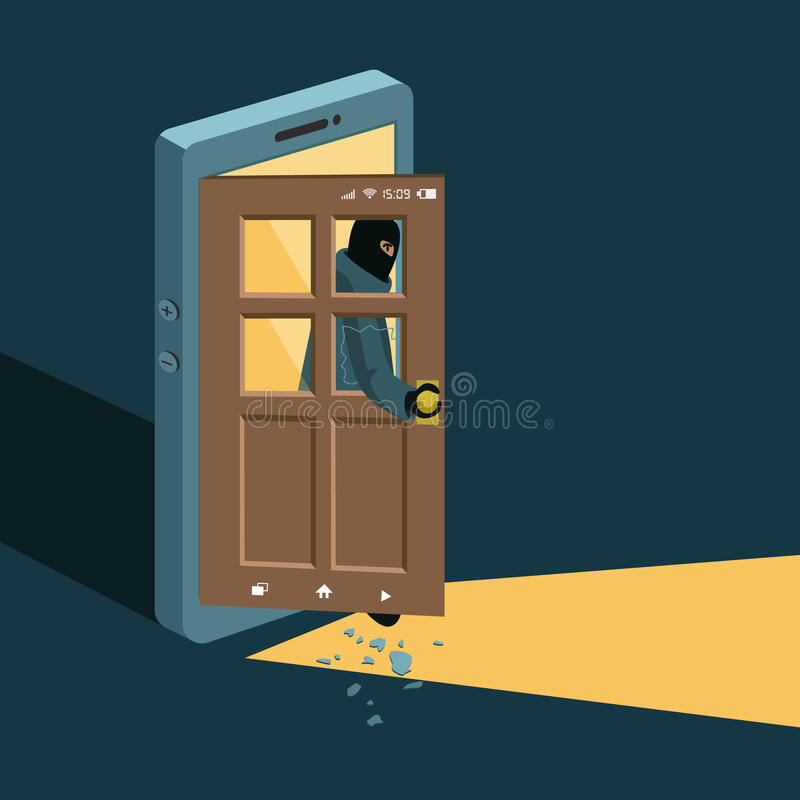 binnendringende in een beveiligd computersysteem hakker vector illustratie