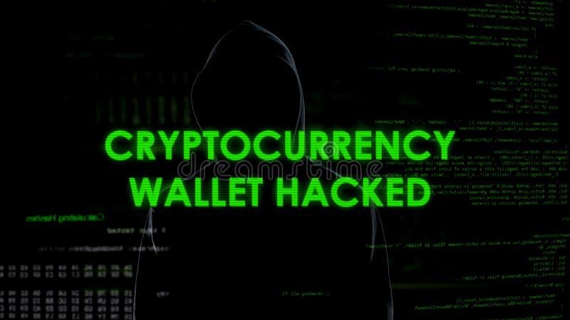 Binnendrongen in een beveiligd computersysteem Cryptocurrency de portefeuille, financiert misdadig stealing geld van rekening royalty-vrije stock foto's