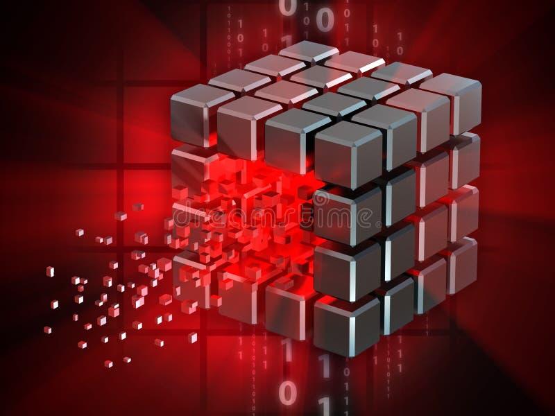 Binnendrongen in een beveiligd computersysteem gegevenskubus stock illustratie