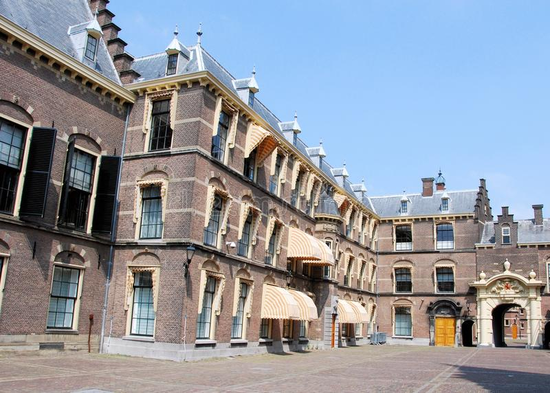 Binnenhof buildings for political The Hague. Binnenhof - The Hague - Complex of buildings in The Hague with Binnenpoort of Middenpoort - middle gate - Meeting stock photos